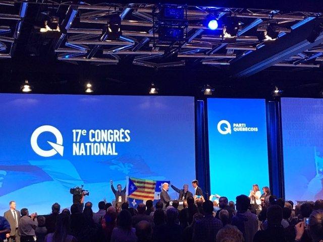 Una 'estelada' en el XVIII Congreso Nacional del Partido Quebequés