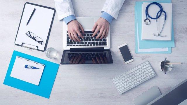 Sanidad, médico, ordenador, tecnología, recurso