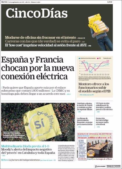 Las portadas de los periódicos económicos de hoy, martes 12 de septiembre