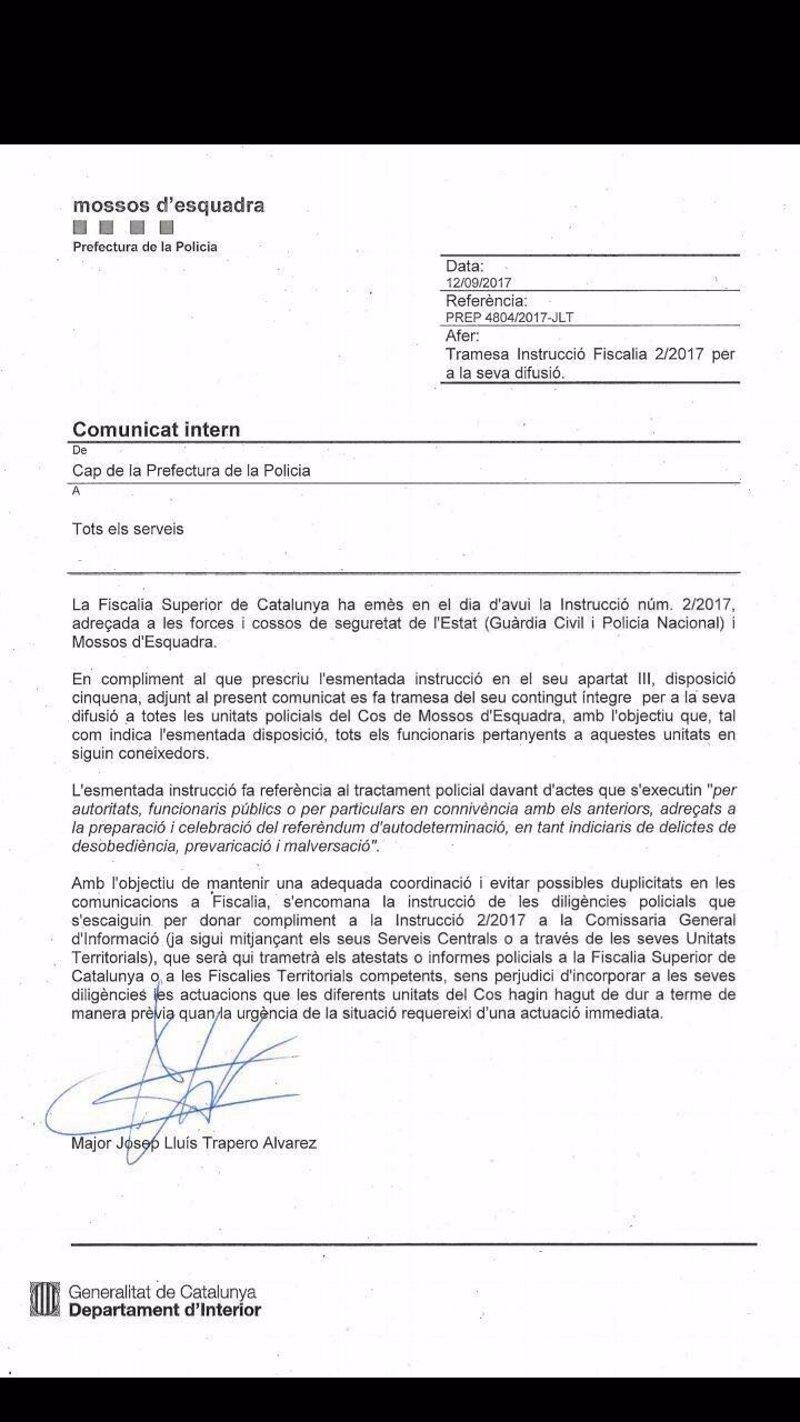 1-O.- Trapero ordena a los Mossos investigar los preparativos del referéndum