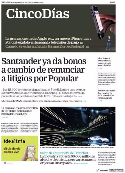 Las portadas de los periódicos económicos de hoy, miércoles 13 de septiembre