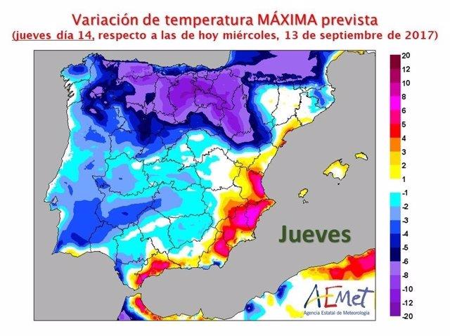Aumento de temperaturas este jueves
