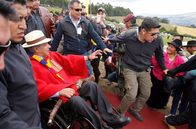 Ecuador's President Lenin Moreno leaves after attending a traditional ceremony i