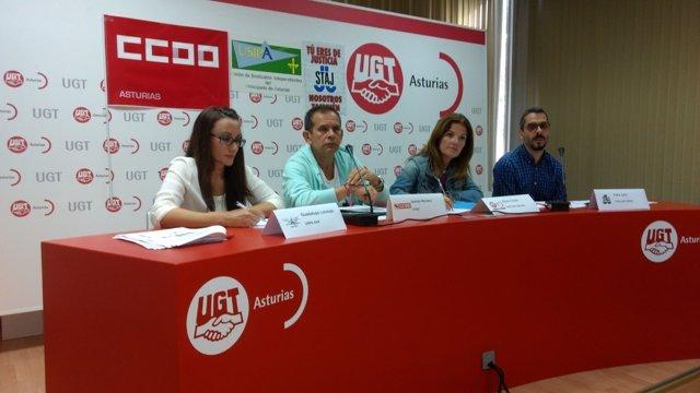 Miembros de la Plataforma Sindical de Justicia y Función Pública.