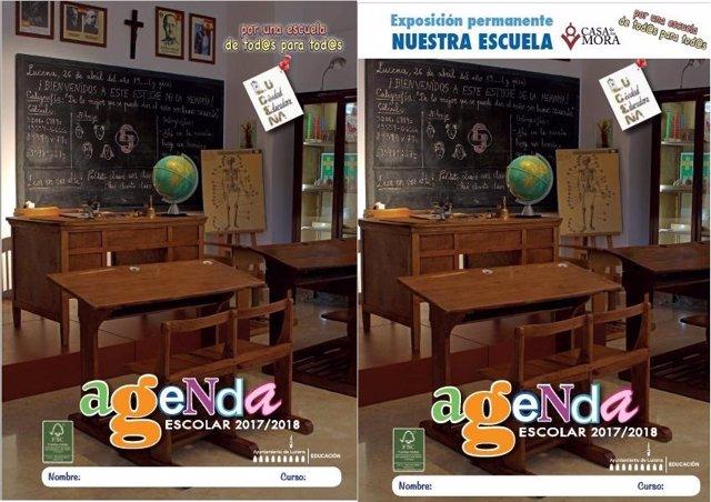 Portada inicial de la agenda (izda.) y la modificada, también desechada (dcha.)