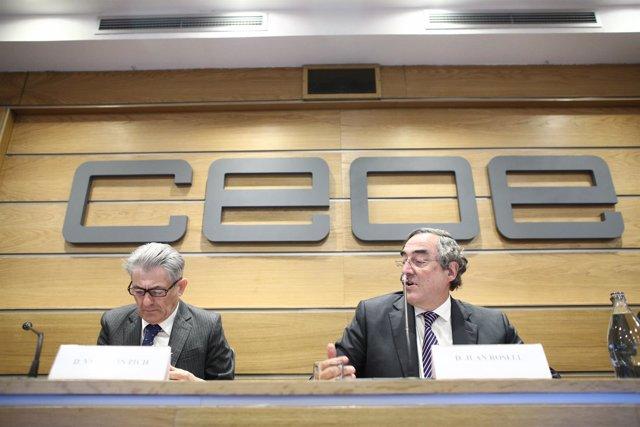 Juan Rosell y Valentín Pich en una rueda de prensa