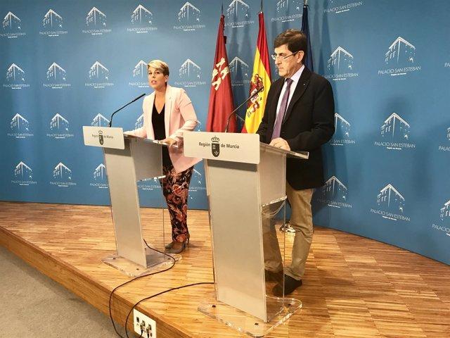 Noelia Arroyo y Manuel Villegas en rueda de prensa tras el Consejo