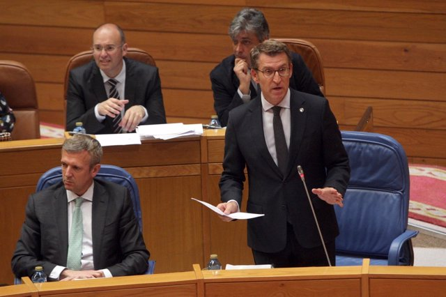 O presidente da Xunta, Alberto Núñez Feijóo, no pleno.