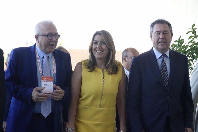 Sánchez Maldonado, Díaz y Espadas, en su visita al congreso de la EAIE