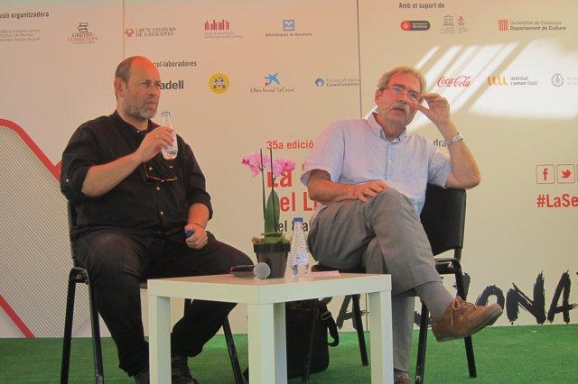 El pt.de la Setmana del Llibre en Català J.Sala i l'autor J.Cabré