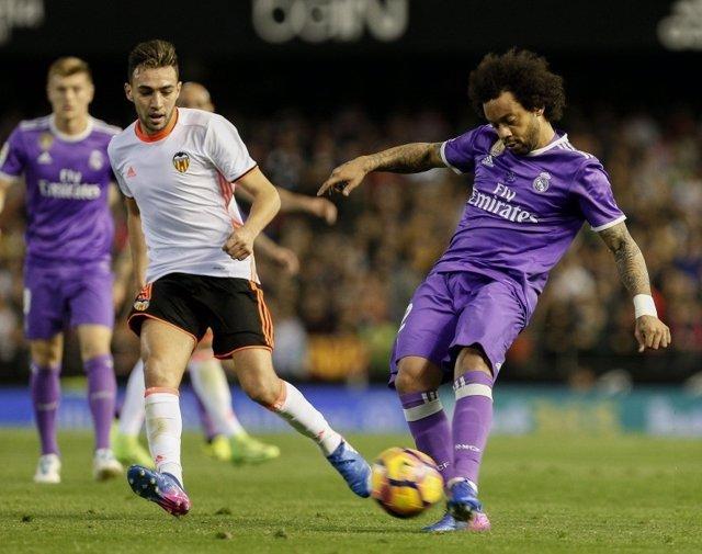 Marcelo en el partido ante el Valencia