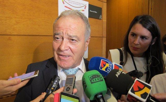 El presidente de la DPH, Miguel Gracia, hoy en las Cortes