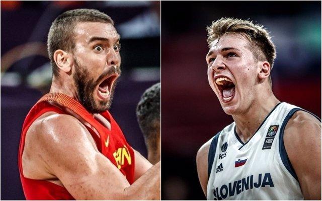 Marc Gasol (España) y Luka Doncic (Eslovenia)