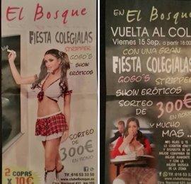 El Ayuntamiento de Cartaya requiere al club de alterne la retirada de la publicidad con jóvenes vestidas de colegialas