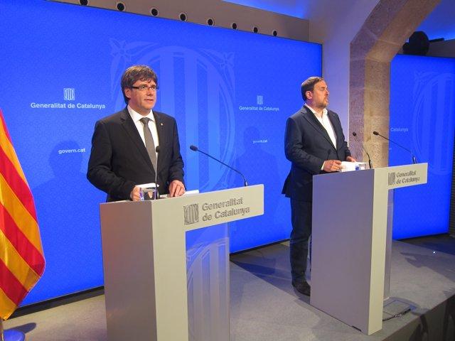 Carles Puigdemont i Oriol Junqueras