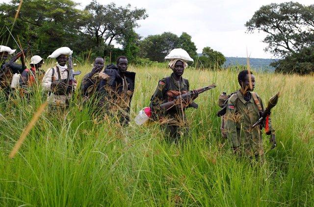 Rebeldes sursudaneses en la localidad de Kaya