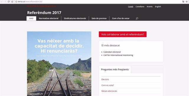 Captura de pantalla de la réplica de la web del referéndum.
