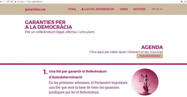 Captura de pantalla de la web garanties.Cat con información del referéndum.