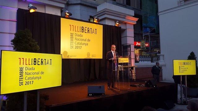 Jordi Turull, en el acto de la Diada en Madrid