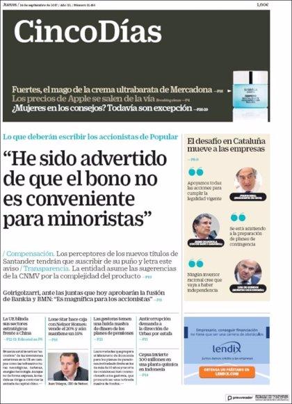 Las portadas de los periódicos económicos de hoy, jueves 14 de septiembre