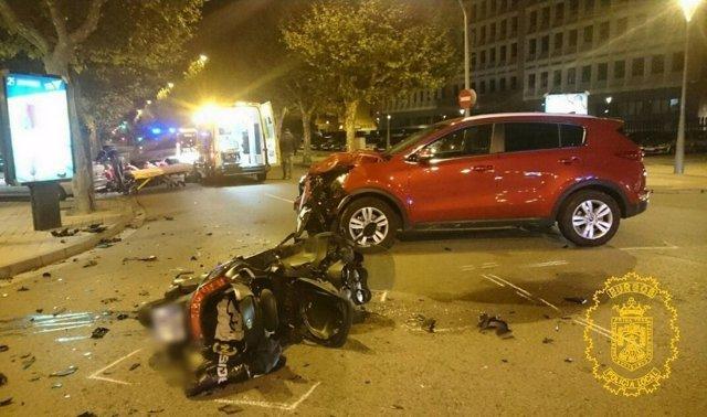 Imagen de la motocicleta siniestrada en Burgos