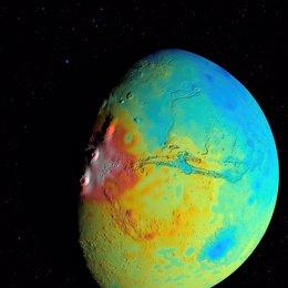 Nuevo mapa del grosor de la corteza de Marte