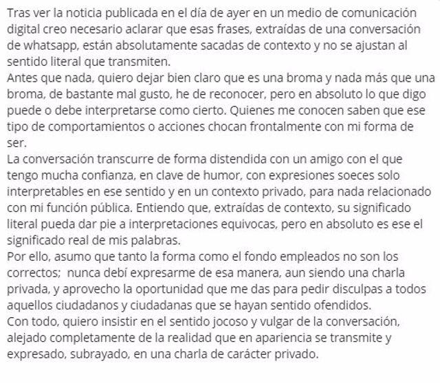 Comunicado Zebenzui González