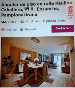 Captura de pantalla de estafa en alquiler de vivienda.