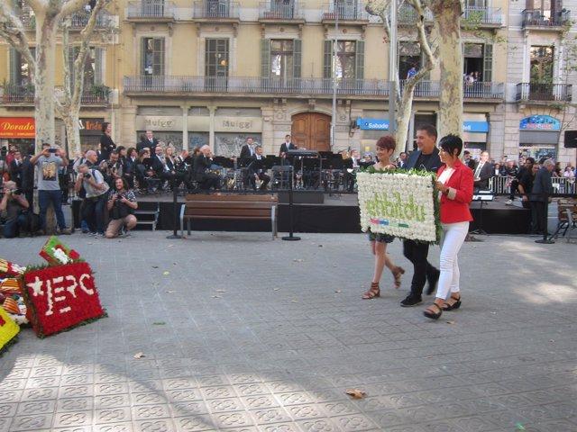 Ofrenda de EH Bildu al monumento de Rafael Casanova de Barcelona por la Diada