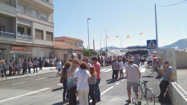 Concejales de Ahora Murcia en el Puente Tiñosa