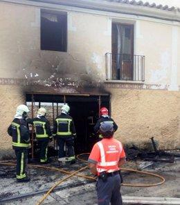 Incendio en una vivienda de Caparroso