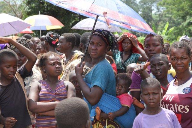 Refugiados centroafricanos en Ndu (RDC)
