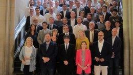 Acto de unos alcaldes en apoyo al referéndum del 1-O (ARHIVO)