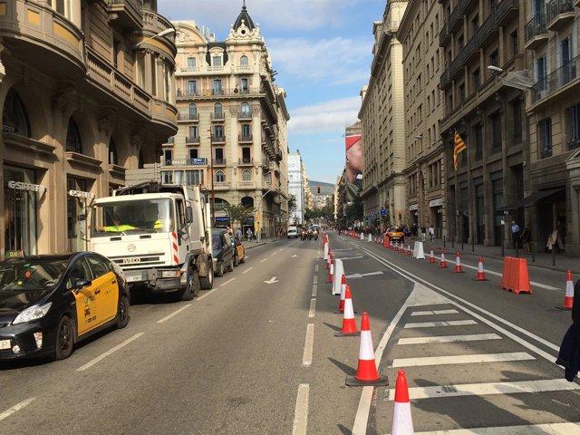 El día sin coches en la Via Laietana.