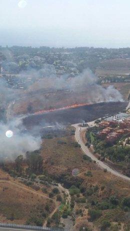 Incendio benahavís infoca haza del mojón forestal fuego humo