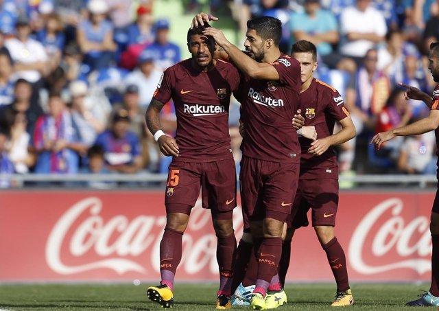 Paulinho celebra su primer gol con el FC Barcelona ante el Getafe