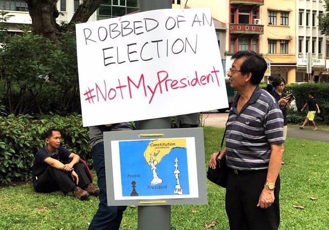 Manifestación en Singapur