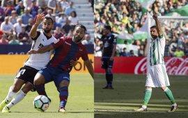 Levante y Valencia empatan en el derbi y Joaquín da la victoria al Betis