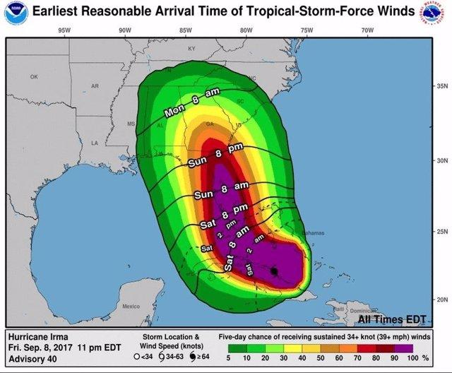 Trayectoria prevista del huracán 'Irma'