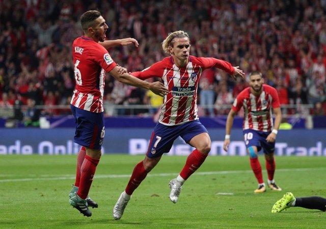 Griezmann celebra el primero gol del Atlético en el Wanda Metropolitano