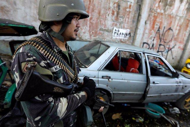 Soldado filipino en Marawi