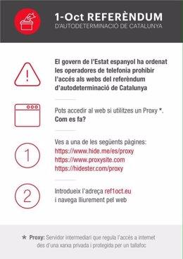 Instrucciones para visitar la web del referéndum bloqueada