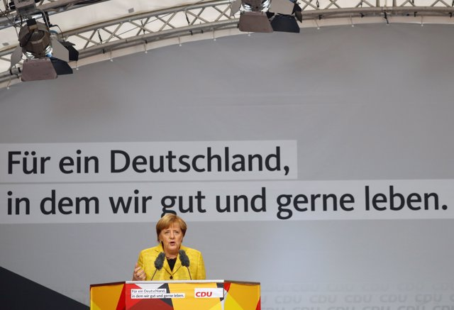 German Chancellor Angela Merkel, top candidate of the Christian Democratic Union