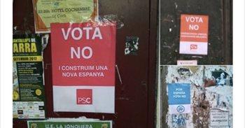 Cuelgan carteles falsos de Cs, PSC y PP a favor del 'no' en el referéndum para incentivar la participación