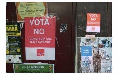 Pengen cartells falsos de Cs, el PSC i el PP a favor del 'no' per incentivar la participació (PSC)