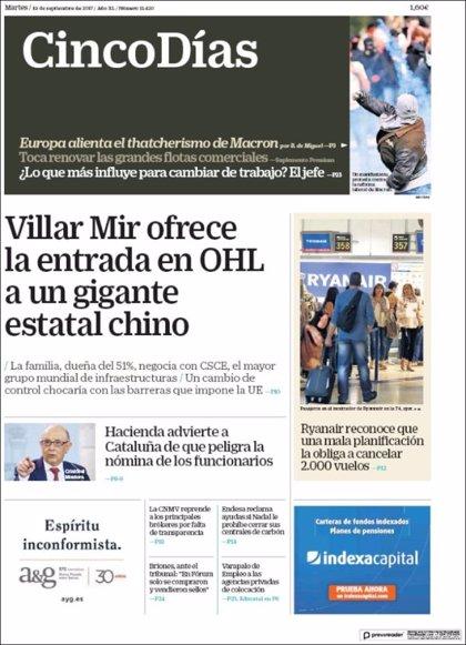 Las portadas de los periódicos económicos de hoy, martes 19 de septiembre