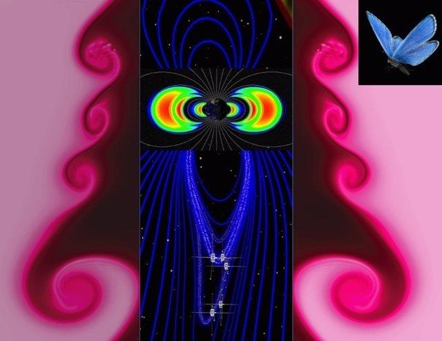 Simulación del efecto del viento solar junto al campo magnético terrestre