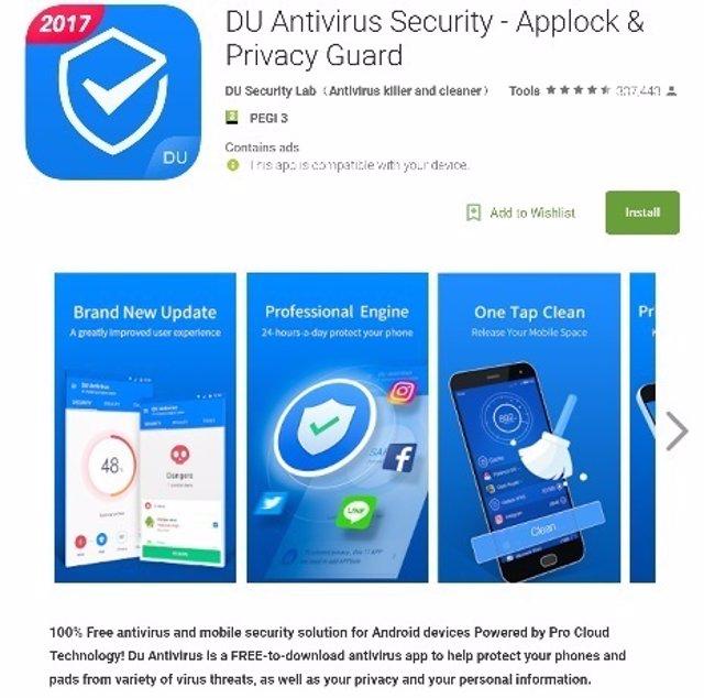 DU Antivirus Security, app maliciosa de Google Play
