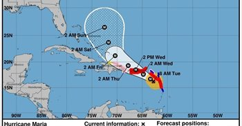 El gran huracán María tiene un potencial devastador como el de Irma y recorre el Atlántico con vientos de 260 km/h
