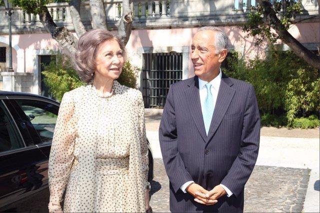 La Reina Sofía y el presidente de Portugal